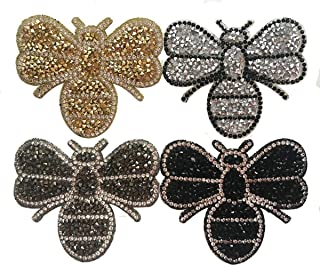 Yazon 4pcs Crystals Bee Patches Iron on Rhinestone Appliques Patch