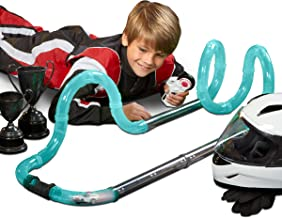 FAO Schwarz 20-Piece Glow-in-The-Dark Turbo Tube Racers Race Track Set with Miniature RC Car and Remote Control for Single Player Racing