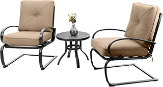 PHI VILLA Patio Big X Design C-Spring Metal Lounge Cushioned Chairs and Bistro Table Set - Cafe Furniture Seat with Beige Cushions