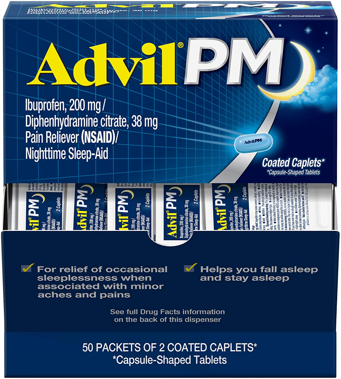 Amazon Com Advil Pm Pain Reliever And Nighttime Sleep Aid Pain Medicine With Ibuprofen For Pain Relief And Diphenhydramine Citrate For A Sleep Aid 50x2 Coated Caplets Health Household