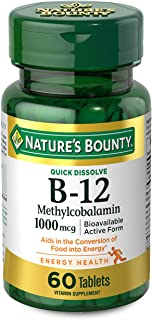 Vitamin B12 by Nature's Bounty, Quick Dissolve Vitamin Supplement, Supports Energy Metabolism and Nervous System Health, 1...