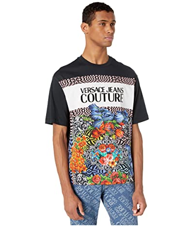 Versace Jeans Couture Oversized Optical Flower Print Logo T-Shirt (Black) Men