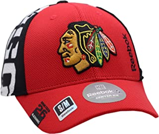 Reebok Chicago Blackhawks Hat Flex Fit Draft Structured Indian Head Logo 11901