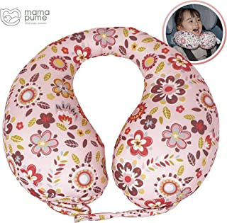 mamapume Baby Car Seat Neck Pillow, Infant Head and Neck Support Pillow for Boys and Girls, Baby Travel Accessory for 6 Months to 7 Years Old (Lovesome Flower, M)