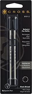 Cross Ballpoint Pen Refill, Broad Black, 2 Per Card (8101-2)