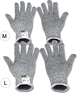 GRESPRI 2 Pairs Cutting Gloves for Men and Women Cut Resistant Gloves Food Grade Level 5 for Kitchen, Garden, Work, M and L Gloves Kit (Large+Medium)