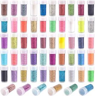 Sponsored Ad - 56 Extra Fine Glitter, Set of 56 Colors Body Cosmetic Glitter, Nail Arts Face Hair Eye Lip Gloss Makeup Gli...