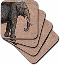 3dRose Grey Elephant - Ceramic Tile Coasters, Set of 4 (CST_192636_3)