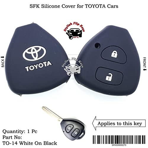 Sfk Silicone Key Cover For Toyota Innova / Fortuner /Corolla With 2 Button Remote Key