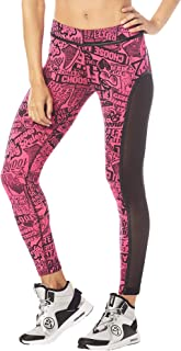 Women's Athletic Fashion Print Legging with Breathable Mesh Panels