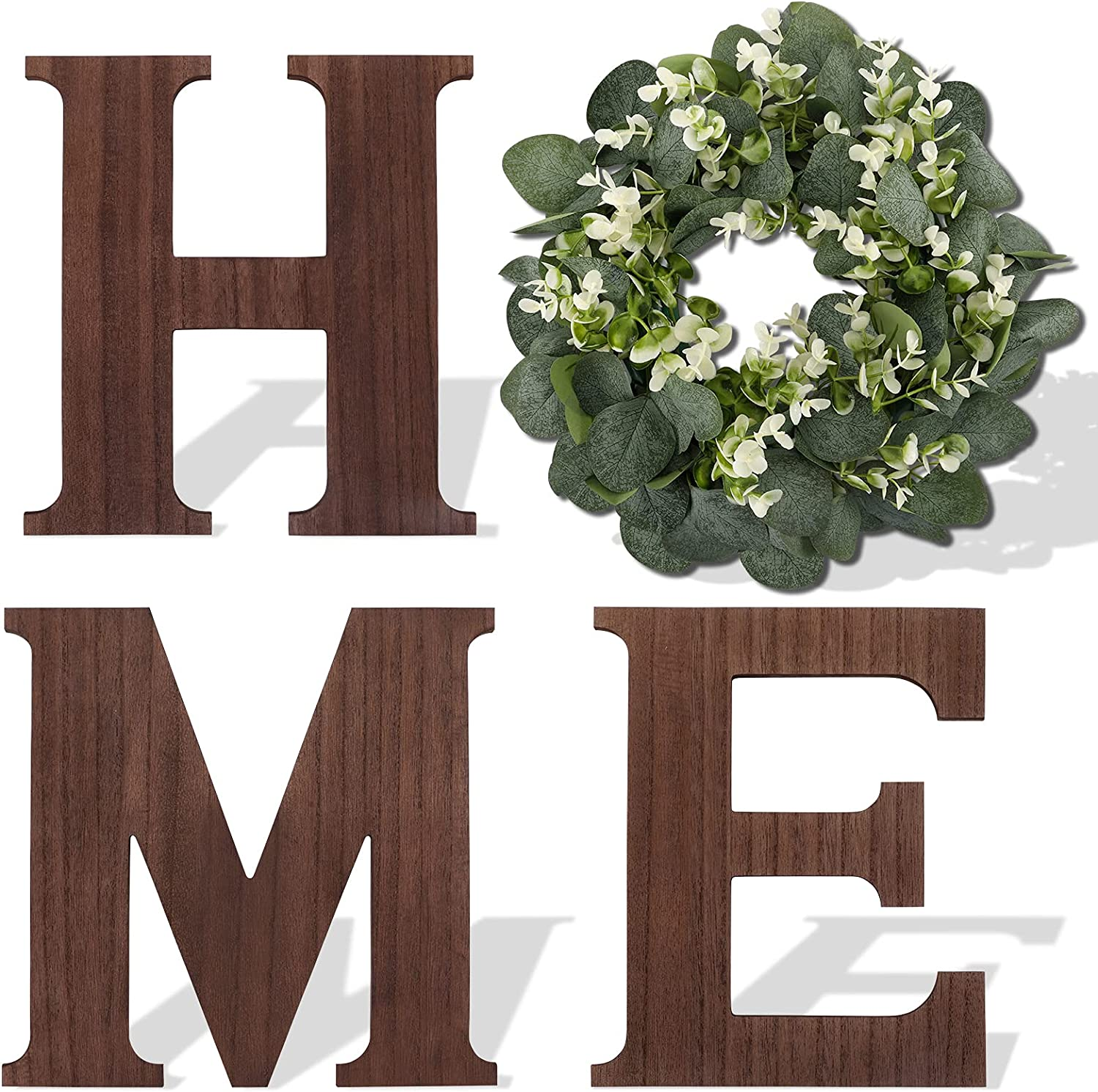 WXBOOM Wooden Home Sign Wall Decor with Artificial Eucalyptus Wreath, Home Hanging Letters for Wall Living Room Rustic Farmhouse