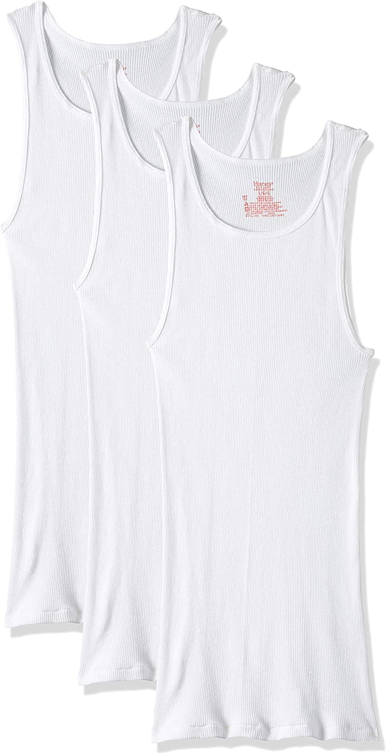 Hanes Ultimate Mens 5-Pack ComfortBlend Tank with FreshIQ White,