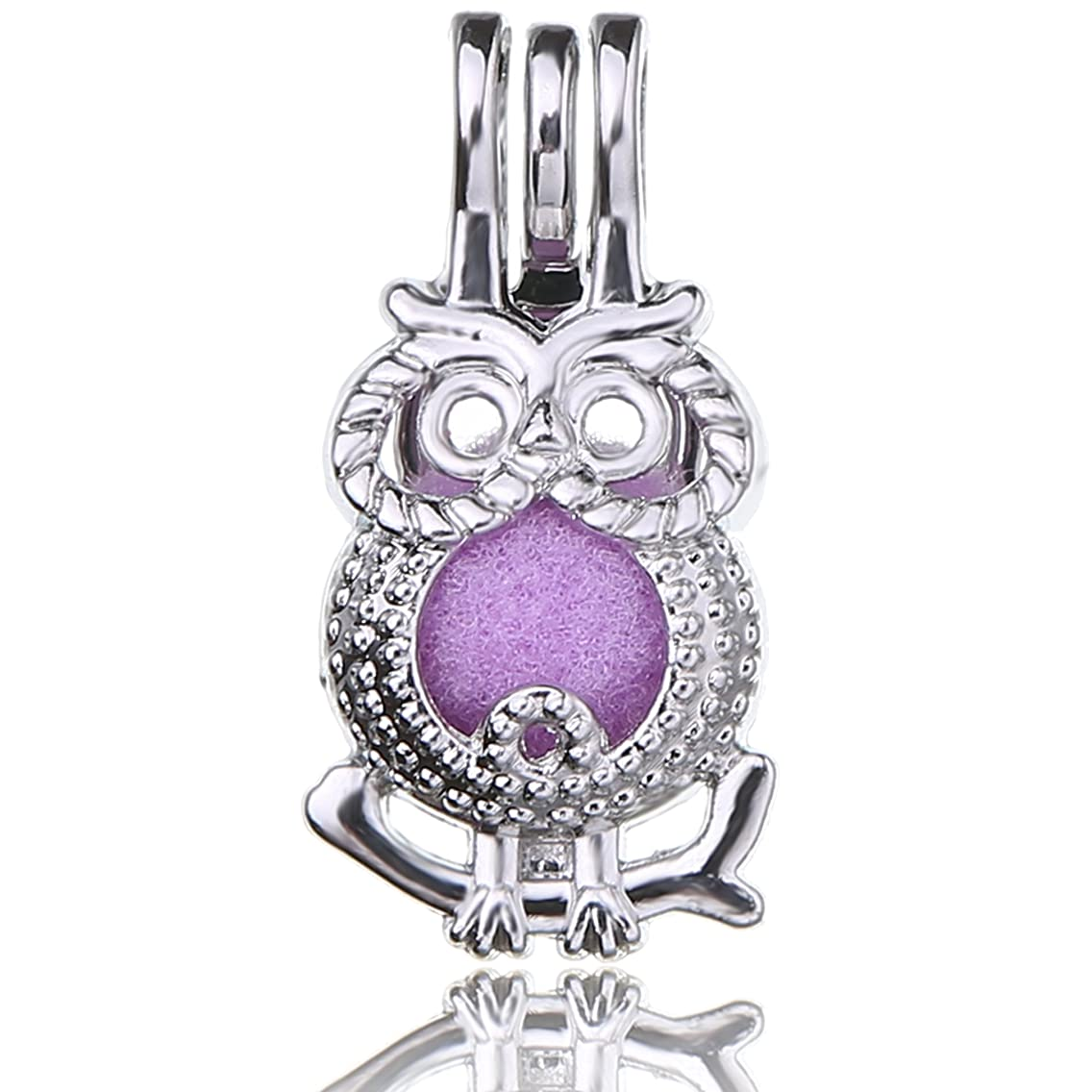 Fantasy 10pcs Owl Platinum Plated Hollow Pearl Bead Cage Pendant Essential Oil Scent Diffuser Pendant Necklace Jewelry Making Supplies (Owl)