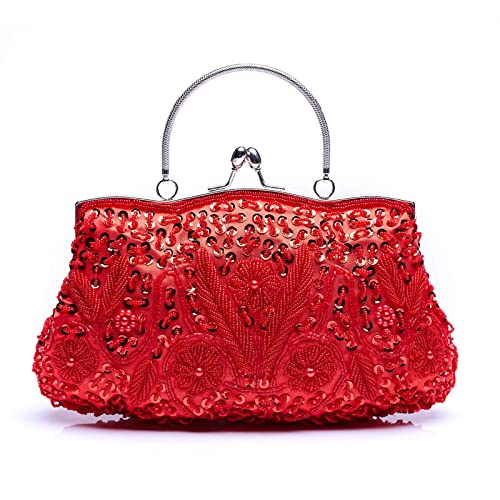 Vintage Smart Antique French Beaded Evening Handbag Bright In Colour