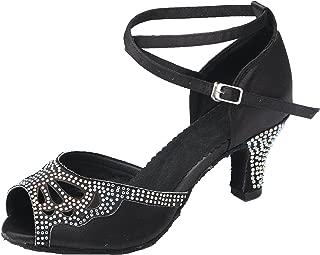 URVIP Women's PU Leather Heels Pumps Modern Rhinestone Latin Tango Shoes Cross Ankle Strap Buckle Dance Shoes LD0140