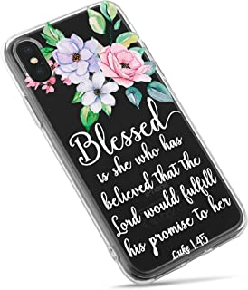 iPhone Xs Max Case,Stunning Flowers Floral with Holy Bible Verses Inspirational Christian Quotes Luke 1:45 Clear Back TPU Protective Case for iPhone Xs Max