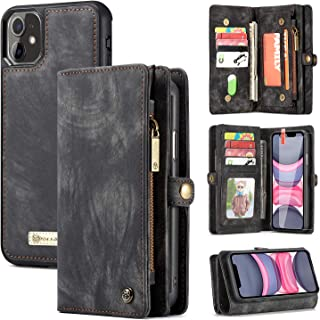 Zttopo iPhone 11 Wallet Case, 2 in 1 Leather Zipper Detachable Magnetic 11 Card Slots Card Slots Money Pocket Clutch Cover with Free Screen Protector for 6.1 Inch iPhone Case (Black-Grey)