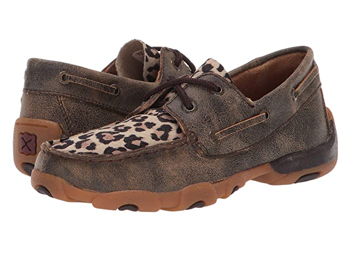 Twisted X  Driving Moc Boat Shoe (Little Kid/Big Kid) (Distressed/Leopard) Shoes