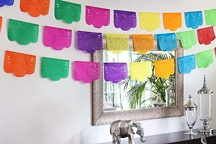 Mexican Papel Picado Banner.Colores de Primavera.Over