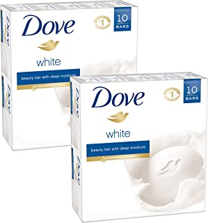 Dove Beauty Bar, White, 4 Ounce, 10 Count (Pack of 2)
