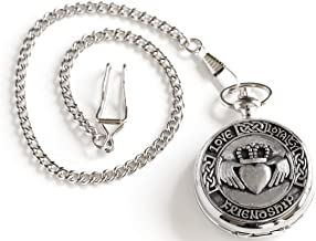 Celtic Pocket Watch Manual Victorian Style Claddagh Design Pewter Made in Ireland