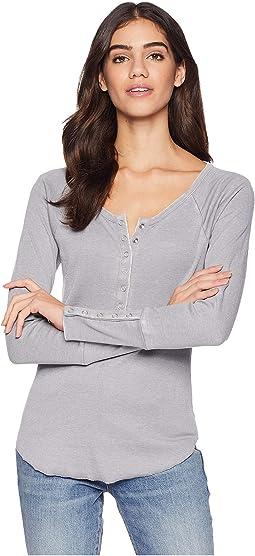 Vintage Rib Long Sleeve Snap Front Raglan Shirttail Henley