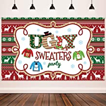 Ugly Sweater Party Supplies Large Fabric Red and Green Ugly Xmas Sweater Party Backdrop for Ugly Sweater Christmas Party Decoration Winter Kids Elfed Photo Booth Background Banner (Light Color)