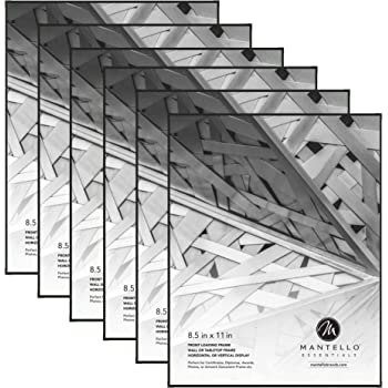 Mantello 8.5x11 Front Loading Picture Frames - Black Frame Set for Tabletop or Wall Decor, 6 Pack - Large Holder for Photos, Certificate, Document, Diploma, Award with Polished Edge Glass