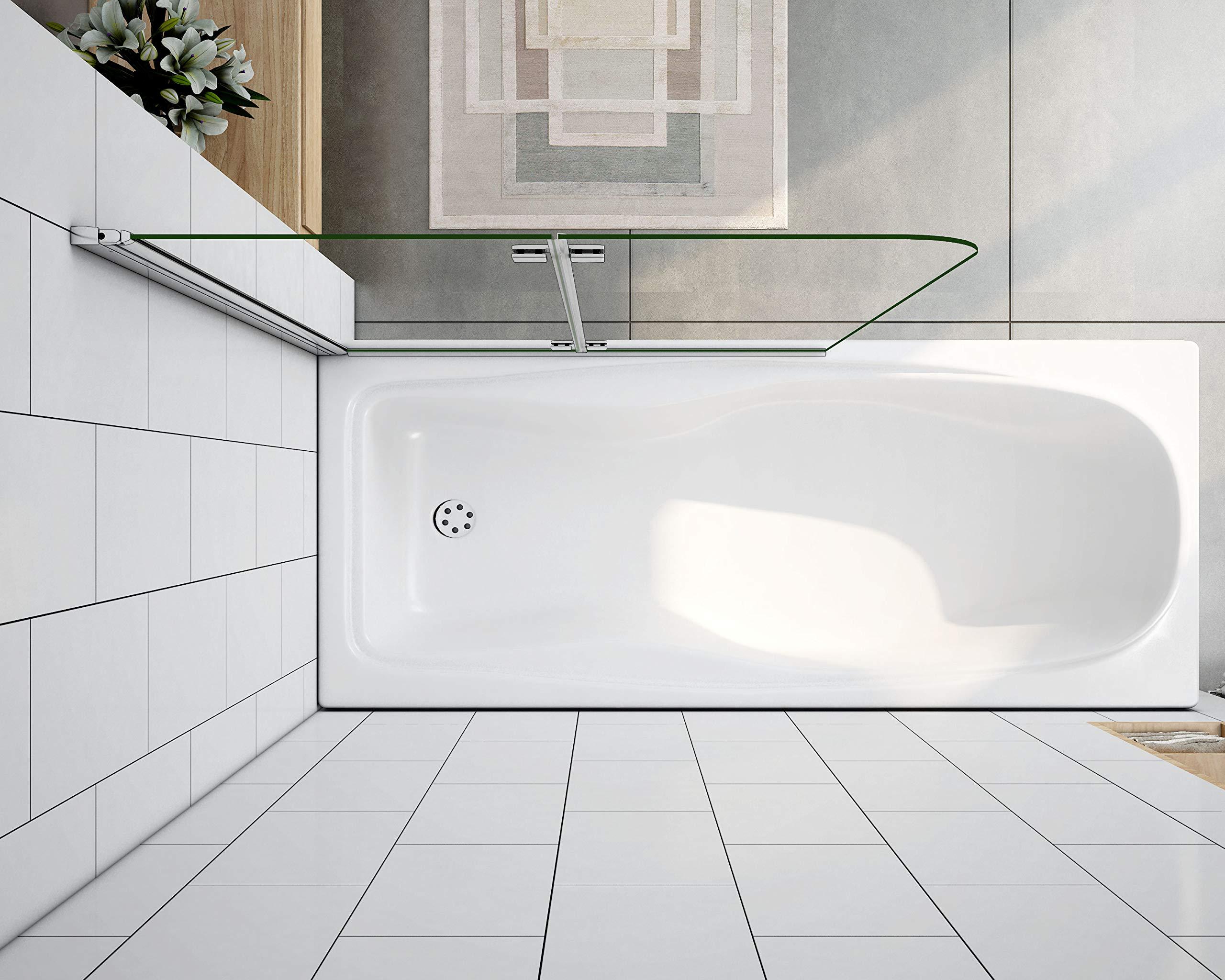 Mamparas de Bañera Plegable Biombo de Baño Abatible, 6 MM Cristal Templado Antical 120x140cm: Amazon.es: Bricolaje y herramientas