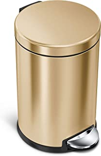 simplehuman round step trash can, 4.5 litre, Brass Stainless Steel