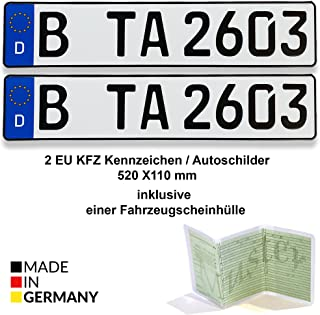 2 EU KFZ Kennzeichen / Autoschilder 520 X 110 mm inklusive einer Fahrzeugscheinhülle