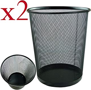 HoverexLightweight and Sturdy Circular Mesh Waste Bin, Metal Black, 19 x 24.5 x 26 cm (Pack of 2),Black