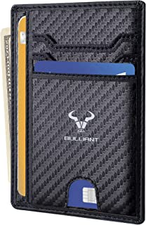 Slim Wallet,Bulliant Skinny Minimal thin Pocket Wallet for Men Genuine Leather 7Slots,RFID Blocking,Gift-boxed