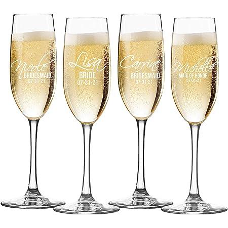 Wedding Package 6 Personalised Stainless Steel Beer Mugs /& 6 Champagne Glasses
