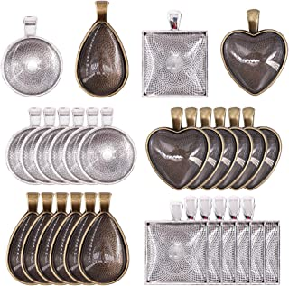 Glarks 48-Pieces 4 Styles Pendant Trays 24pcs Round & Square & Heart & Teardrop and 24pcs Bright Glass Cabochon Dome Tiles...