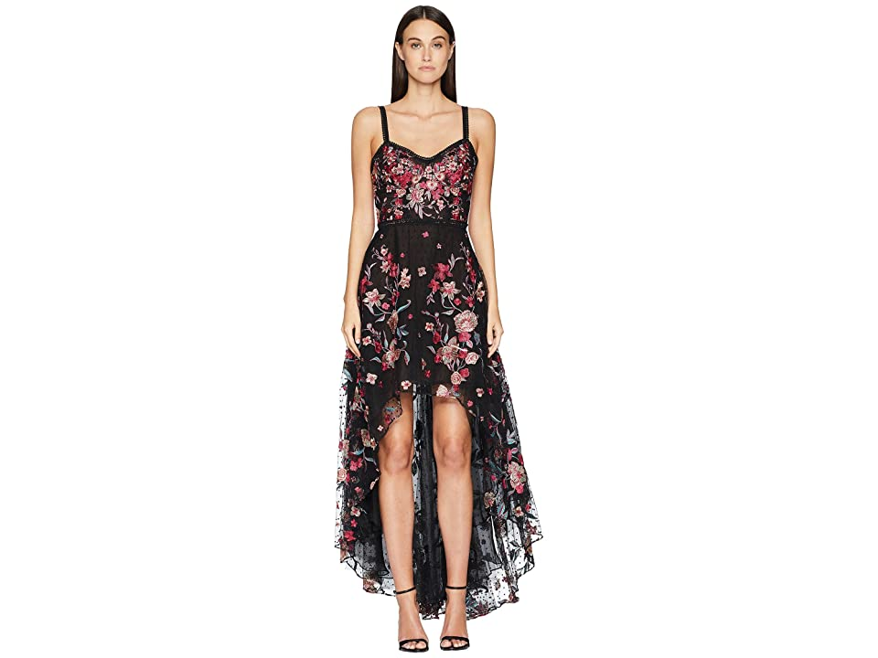 Marchesa Notte Sleeveless High-Low Embroidered Flocked Tulle Gown with Corset (Black) Women