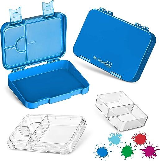 My Vesperbox – Bento Box Kinder – Lunchbox mit 4+2 Fächern – extrem robust – Brotdose – Brotbox ideal für Kindergarten und Schule… (Lila)
