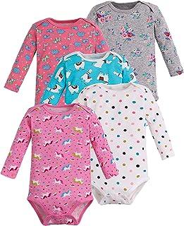 Sladatona Baby Girls 100% Cotton Soft Unicorn Mermaid Princess Long-Sleeve Bodysuits