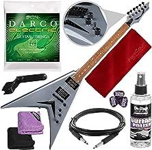 Dean VMNTX Dave Mustaine Guitar, Bolt-on Metallic Silver with Accessory Bundle