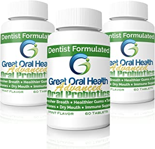 Patented Dental Oral Probiotics from a Top Holistic Dentist-Great Value Per Bottle with 60 Tablets. Tackle Bad Breath, Gum Disease, Strep Throat & Tooth Decay. 3 Bottle Starter Kit