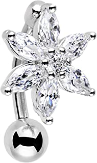 Body Candy Stainless Steel Clear Accent Lily Flower Top Mount Dangle Belly Ring