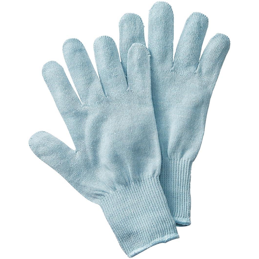 マット男性農学セルヴァン シルク混おやすみ手袋 サックス