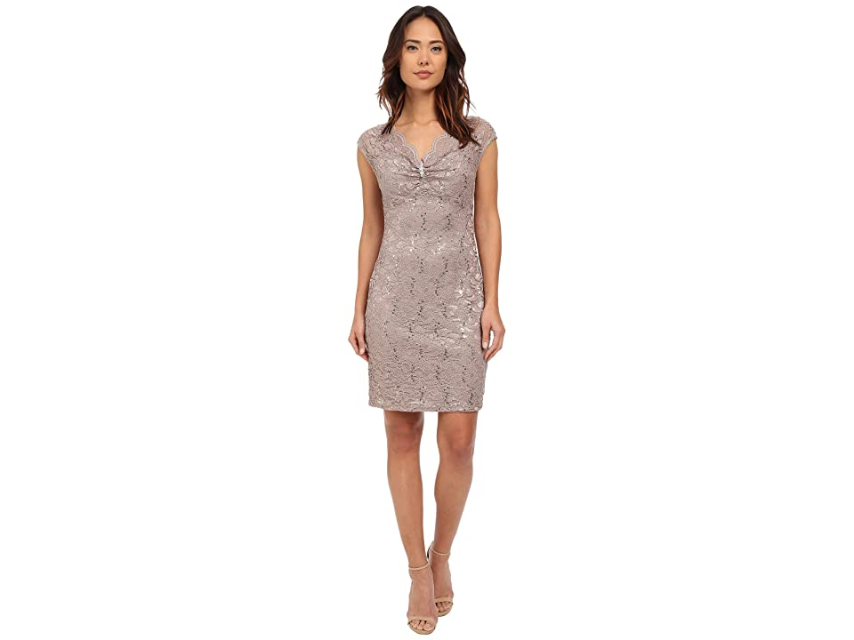 rsvp Verona Short Sleeve Lace Dress (Champagne) Women