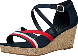 Tommy Hilfiger CORPORATE DETAIL MID WEDGE, Women's Fashion Sandals, Blue