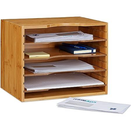 Schreibtischorganizer mit 4 F/ächern Bambus Relaxdays 2 teiliges B/üro Set universal Ladestation f/ür mehrere Ger/äte Natur