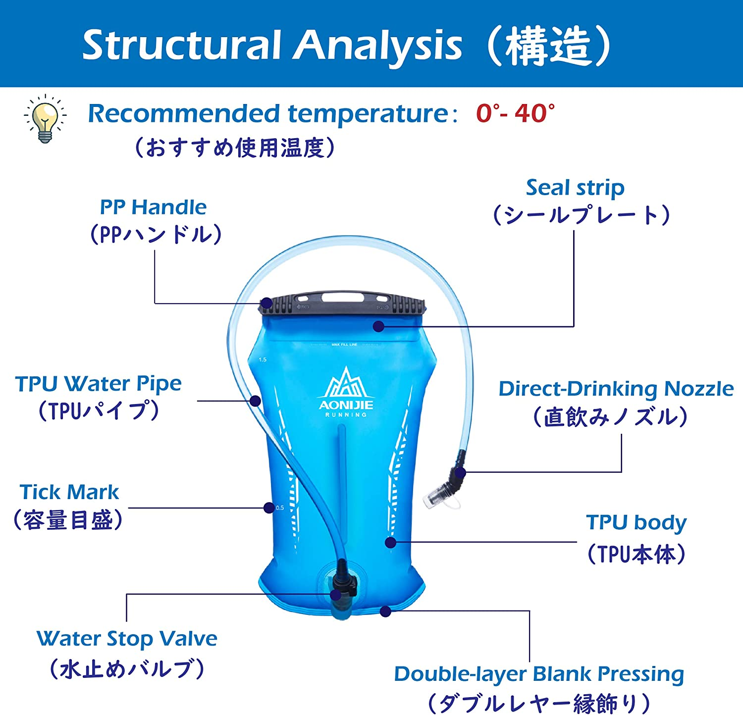 Large Opening BPA Free Hydration Pack Replacement for Hiking Biking Climbing Cycling Running Azarxis Hydration Bladder 1.5L // 2L Leakproof Water Reservoir Water Storage Bladder Bag