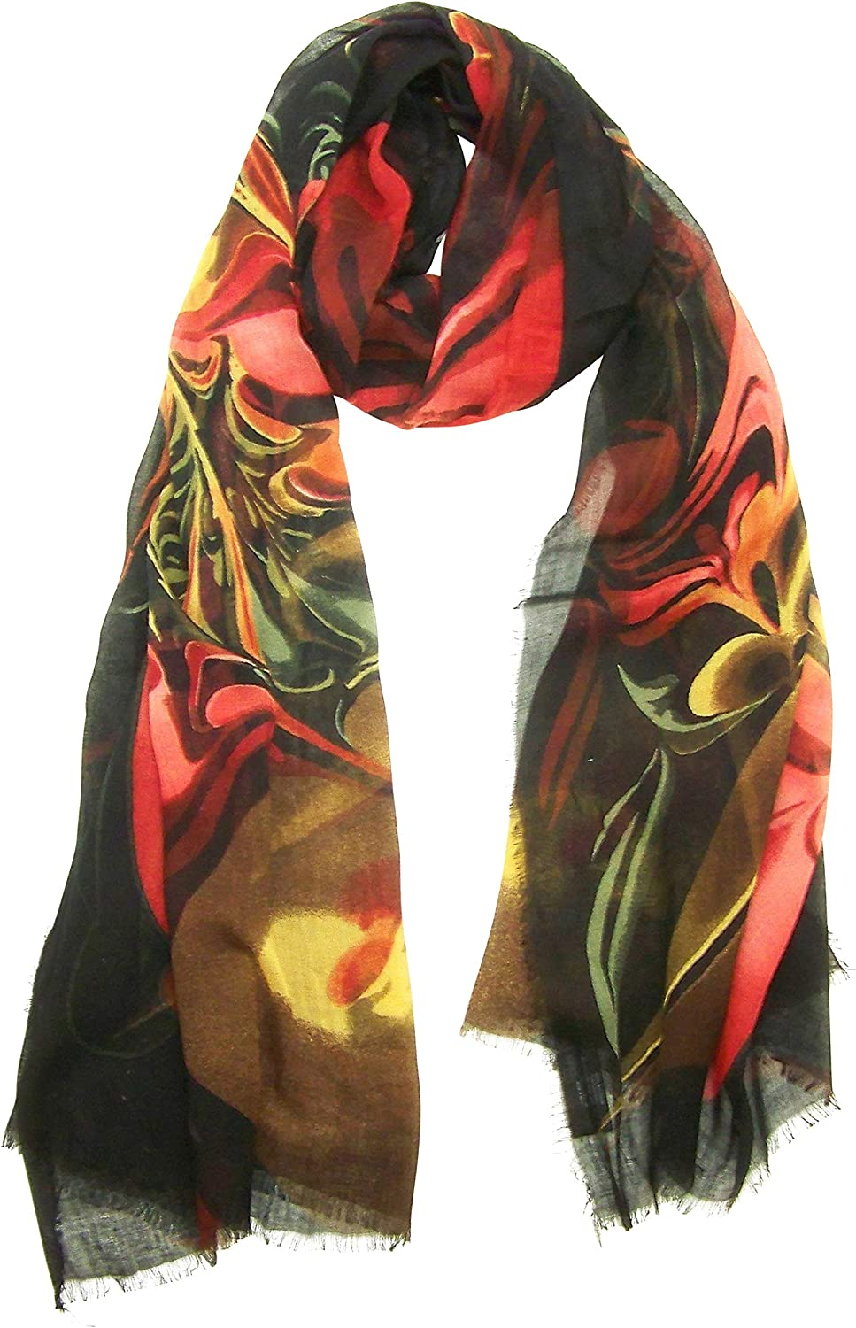 bluee Pacific Micro Modal Scarf in Calla Lily in Salmon Yellow on Black