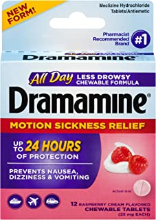 Dramamine All Day Less Drowsy Motion Sickness Relief, 12 Chewable Tablets, Raspberry Cream Flavor