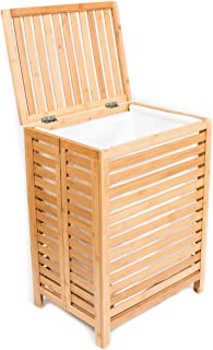 BIRDROCK HOME Folding Bamboo Hamper - Made of Natural Bamboo - Includes Machine Washable Cotton Canvas Liner