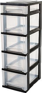 Iris Ohyama torre de almacenamiento con 5 cajones sobre ruedas - Smart Drawer Chest - SDC-314 plástico negro  transpar...